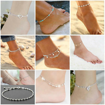 Ankle Bracelet Silver Gold Plated Women Sterling Anklet Foot Chain Beach Beads