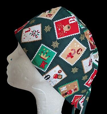 Christmas Stamps Operating Theatre Scrub Caps/Hats - nurse, ODP, surgeon, vet