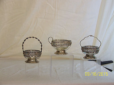 3-Westminster Hand Made English Crystal & Silver Plate Baskets
