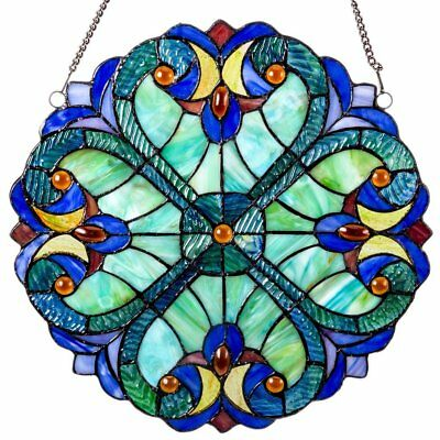 12 In Stained Glass Hanging Window Panel in Tiffany Style for Home Windows Decor