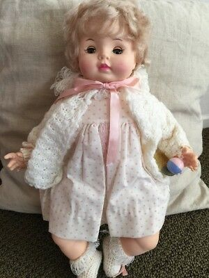 """EFFANBEE doll18""""Sweetie Pie 1969 Blonde White/pink outfit"""