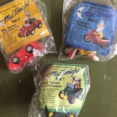 Lot of 3 Mac Tonight McD's Happy Meal Toys Off-roader, Motorcycle, Sports car