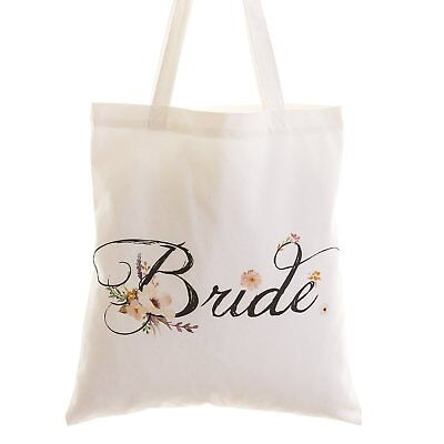 Lings moment Wedding Bride Floral Cotton Canvas Tote Bag with Interior Pocket to