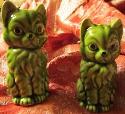 Unique Green Cats Salt And Pepper Shakers Made In Japan
