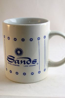 Sands Hotel Casino Mug Las Vegas Coffee White Blue