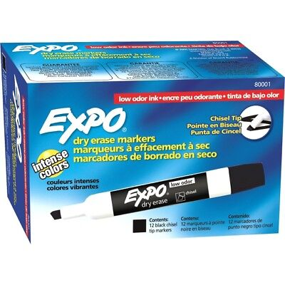 Expo Low Odor Chisel Tip Dry Erase Markers Black 12 Pack