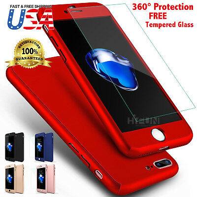 Ultra Thin Slim Hard Case Cover Fits Apple iPhone + Tempered Glass Protector