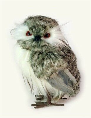 """Victorian Trading Co Grey Speckled Owl Figurine Real Feathers 6"""" Free Ship NIB"""
