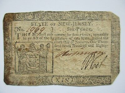 Colonial Currency New Jersey 1781 6 pence,Very Fine