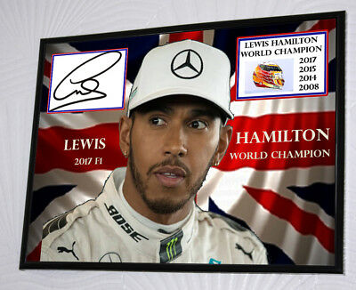 Lewis Hamilton F1 Mercedes 4 Times World Champion A3 Framed Canvas Print Signed