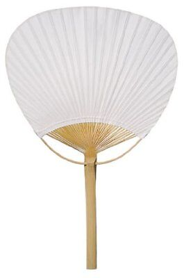 """PaperLanternStore.com 9"""" White Paddle Paper Hand Fans for Weddings 10 Pack"""