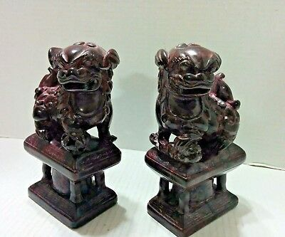 Vintage Chinese Soapstone Carved Pair of Fu / Foo Dogs ~ Heavy ~ Bookends