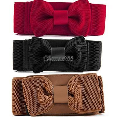 Elegant Women Girls Bowknot Elastic Bow Wide Stretch Buckle Waistband Belt