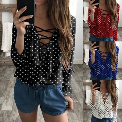 Women Ladies V-Neck Long Sleeve Loose Blouse Summer Casual Shirt Tops US Stock