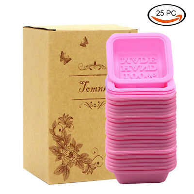 25Pcs Pink Square Handmade Silicone Soap Mold Baking Mold Cupcake Liners