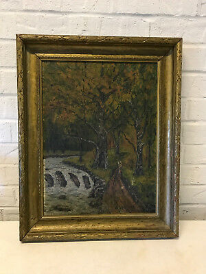 Antique 1928 Signed Oil on Canvas Board Forest Landscape Painting Body of Water