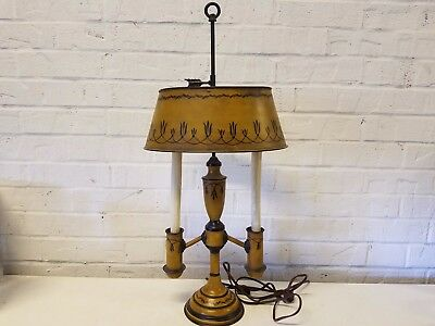 Vintage Metal Tole ware French Bouillotte Lamp with Finial