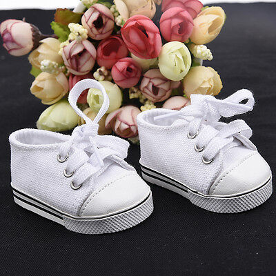 Handmade Canvas White Shoes for 18 inch Doll Cute Baby Kids Toy#