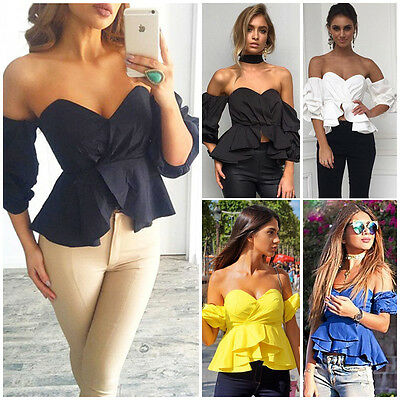 Fashion Women Sexy Off Shoulder Crop Tops Summer Loose Shirts T-shirt Blouse