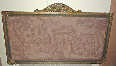 c1920 Antique Wooden Frame w Antique Powered Loom Large FRENCH STYLE TAPESTRY