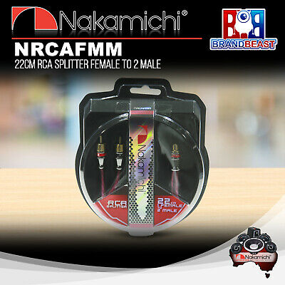 Nakamichi Nrcafmm 22cm Rca Y Splitter Female To 2x Male Connector Plug Cable
