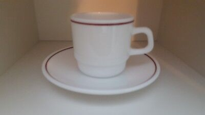Arcopal France Milk Glass White Cup and Saucer Expresso coffee Set maroon stripe