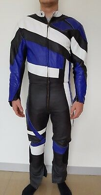 BLACK ROSE ONE PIECE MOTORCYCLE LEATHER SUIT SIZE SMALL 46 blue
