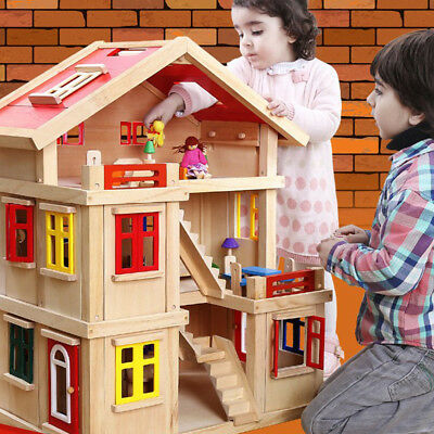 Large Kids Wooden Play Building Blocks Villa Children's Role Play Pretend Toy
