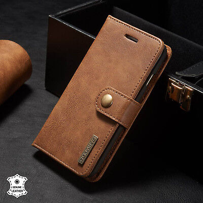 Genuine Leather Flip RFID Wallet Magnetic Protective Case For iPhone 8 7 6-Brown