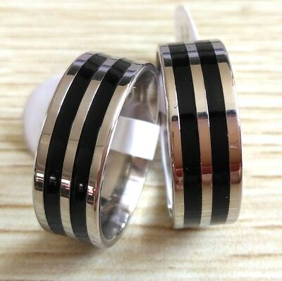 Job lot 50x Black Enamel Silver Stainless Steel band rings Men Fashion Jewelry