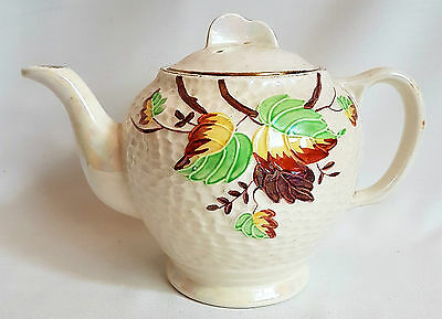 """Maling """"Autumn Leaves"""" Lustreware Teapot Made for Ringtons 1950's Vintage"""