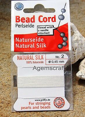 Sz 2 White  Bead Cord Beadalon Griffin Silk Beading Cord 2m with Attached Needle