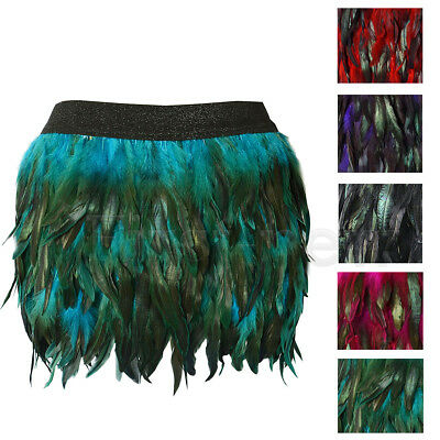 Womens Elastic Waist Short Skirt Party Lady Clubwear Peacock Feathers Mini Skirt
