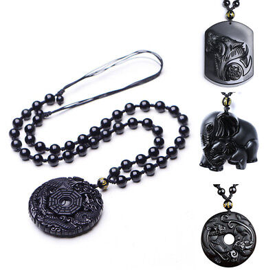 Chinese natural obsidian hand carved Wolf head lucky pendant+Beads Necklace