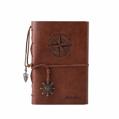 Leather Writing Journal Unlined Notebook Embossed Spiral Travel Blank Diary