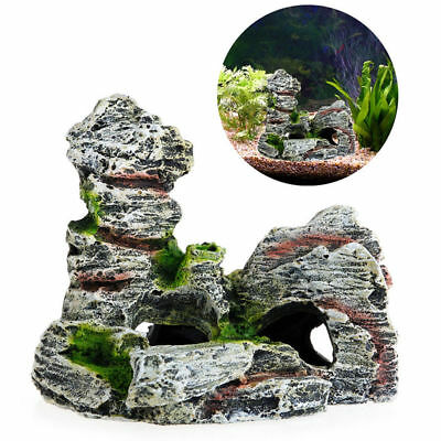 Aquarium Ornament Mountain Moss Pavilion View Rockery Cave Fish Tank Decoration