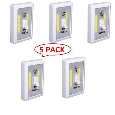 5 PACK COB LED Wall Switch Wireless Closet Cordless Night Light Battery Operated