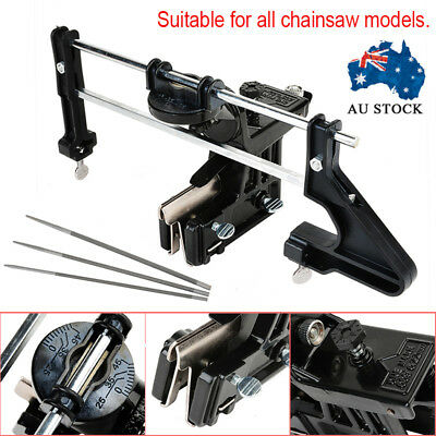 Universal Chainsaw Chain Pro File & Guide Sharpener with 3 Files Sharpening Bar