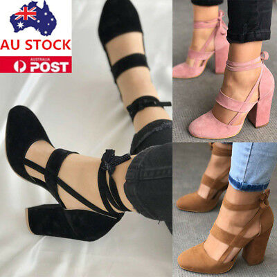 Women Summer Block Heel Ankle Strap Sandals Pointed Toe Lace Up Tie Pump Shoes