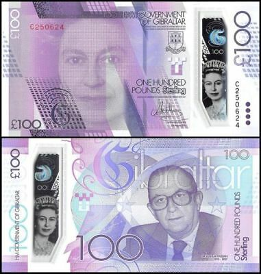 Gibraltar 100 Pounds Banknote, 2015-2016, P-NEW, UNC