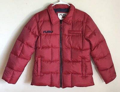 FUBU The Collection Red/Navy Blue Puffer Down Jacket Coat Size LARGE (PLZ READ)