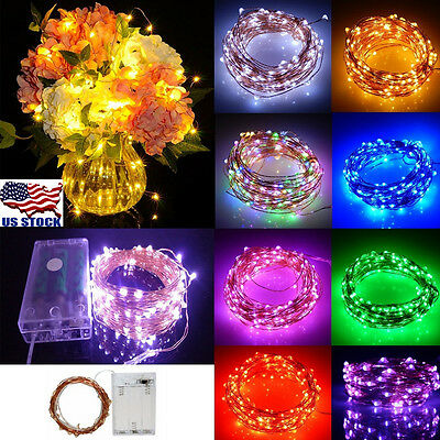 2//5//10M AA Battery Operated LED Copper Wire String Fairy Lights Xmas Party USA