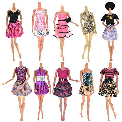 10Pcs Fashion Party Dresses Clothes Gown For  Dolls Girls Random Pick ao