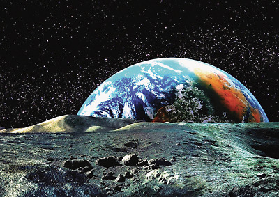 View Of Planet Earth From The Moons Surface Lunar Space Poster