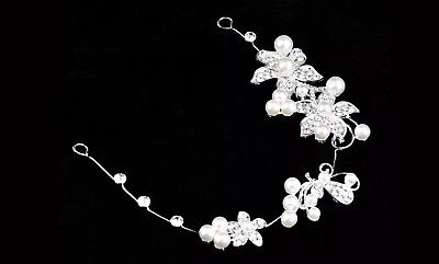 Bridal Head Piece Hair Band Head Band Communion Accessory Crystal & Pearl  Style