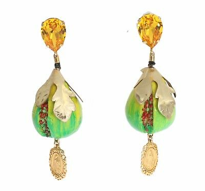 NEW $860 DOLCE & GABBANA Earring Gold Brass Green Fig Crystal Clip On Sicily