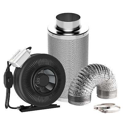 "VIVOSUN 4"" 6"" 8"" inch Inline Duct Fan w/ Speeder Air Carbon Filter Ducting Combo"