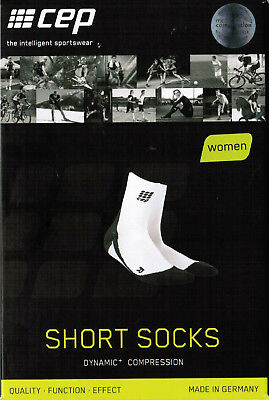 CEP Dynamic+ Short Socks Women Damen Kompression WP4B0 White/Black II Neu Ovp