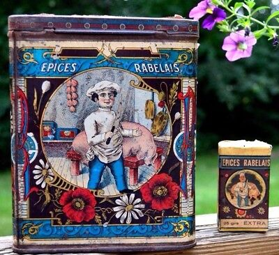 RARE Antique Spice Tin Meat Old Advertising litho Graphics Vintage Chef & Box