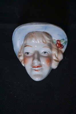 "Vintage Porcelain Lady Wall Mask/Pocket 3"" x 3-1/4"" FREE SHIPPING"